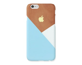 iPhone 5s case - Pastel blue layered wood pattern - iPhone 7 case, iPhone 7 Plus case, iPhone SE, non-glossy L06