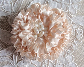 Handmade Ribbon Flower With Pearls  (2-3/4 inches) In Ivory MY-413-128 Ready To Ship