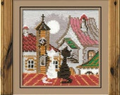 """Cross Stitch KIT 611 """"City and Cats Spring"""" - by RIOLIS (Counted cross stitching, Sewing & Needlecraft, Embroidery pattern)"""