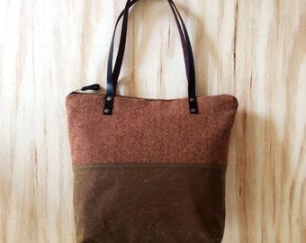 Waxed Canvas Leather and Wool Tote Bag, Diaper Bag, Shoulder Bag, Laptop Bag, Herringbone Wool