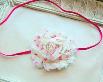 Cream and Pink Baby Headband - Shabby Flower Headband - Baby Girl Headband, Newborn Girl Headband, Sizes Newborn to Adult