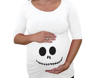 Maternity Halloween shirt skeleton face on the bump area- maternity t-shirt- Halloween Costume- Pregnant shirt costume