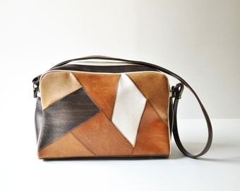 Vintage Vinyl Brown Patchwork Shoulder Bag