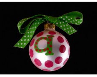 "Coton Pottery Hand Painted ""a"" Polka Dot Ornament"