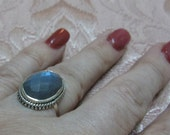 Faceted Labradorite Sterling Silver Ring Size 7