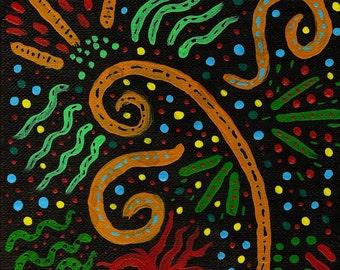 Bohemian Wall decor, contemporary style, aborigine inspired, boho art, tribal style, abstract art,bohemian art,original painting, item #TBO1