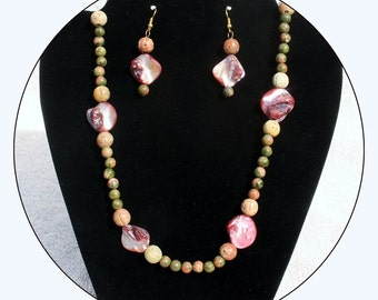 Jewelry set,Shell and gemstone,Pink Shell Necklace,Pink Shell Beads,abalone earrings,jasper,soapstone,shell,shell bead necklace,Item #JSSP01