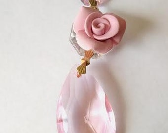 ONE Chandelier crystals 38mm Almond Pink roses chandelier prisms Teardrop crystal ornaments shabby chic