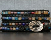 wrap bracelet- frosted mixed color glass beads on black leather- multicolor - boho gypsy bohemian beach yoga