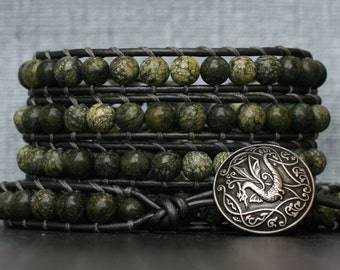 dragon wrap bracelet- russian serpentine on pewter leather- green and gunmetal - mens or womens - celtic jewelry