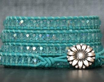 turquoise crystal wrap bracelet - aquamarine aurora borealis crystals on turquoise leather - aqua blue - boho jewelry