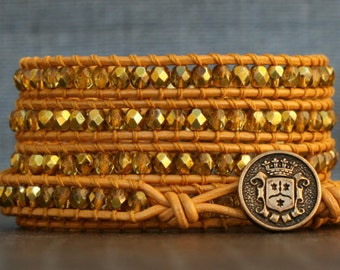 wrap bracelet- gold crystal on gold leather- beaded leather and crystal - bohemian jewelry