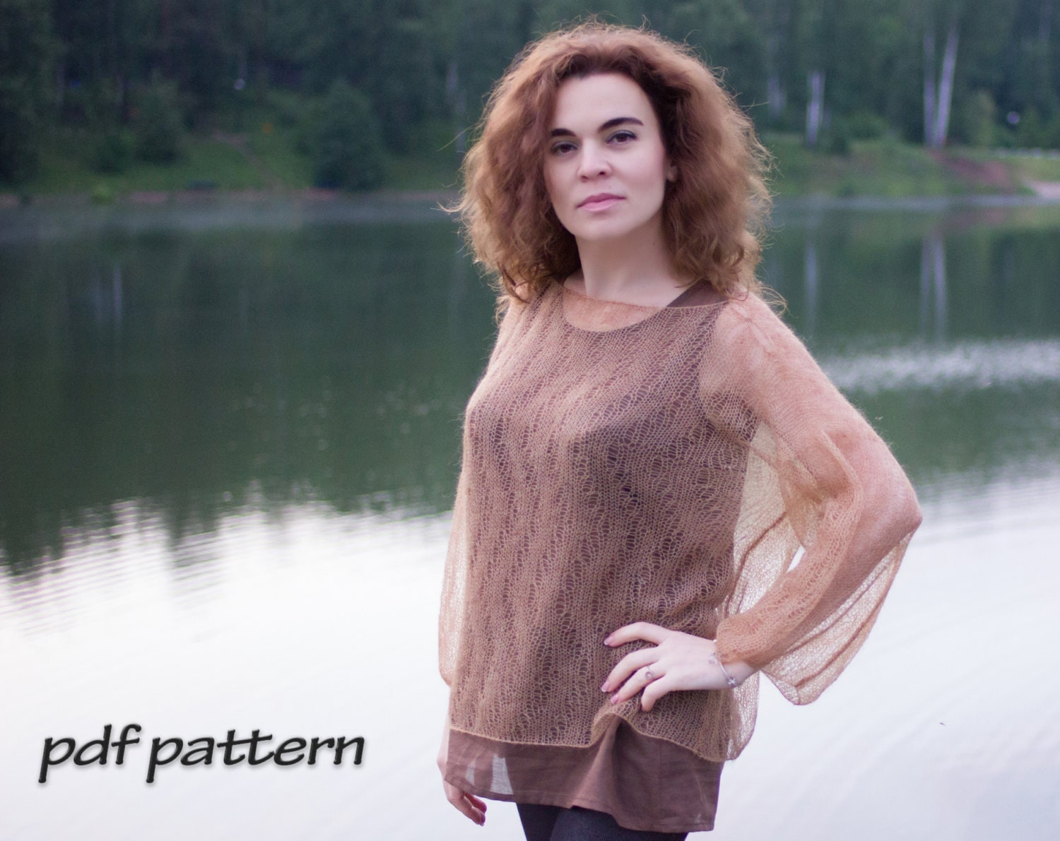 Knitting pattern Lace pullover Soft knitted tunic pattern Lace