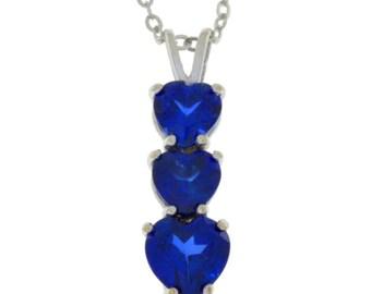 Blue Sapphire Heart Pendant .925 Sterling Silver