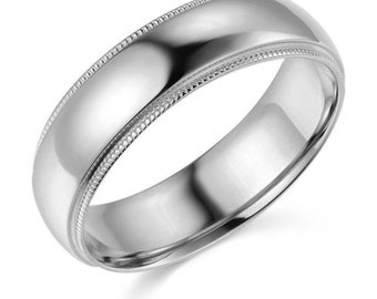 14Kt White Gold Milgrain Wedding Band 6mm