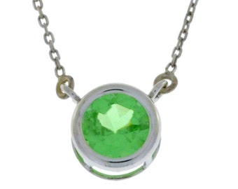 Green Sapphire Round Bezel Pendant .925 Sterling Silver