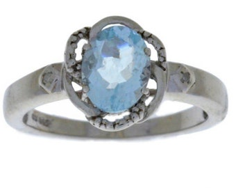 1.5 Carat Genuine Aquamarine & Diamond Oval Ring .925 Sterling Silver Rhodium Finish