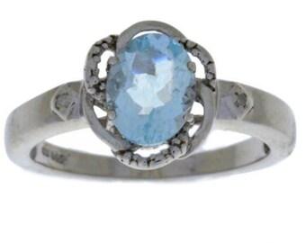 Aquamarine & Diamond Oval Ring .925 Sterling Silver