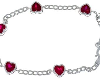 Ruby Heart Bezel Bracelet .925 Sterling Silver