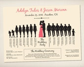 Wedding Program Card, Infographic Program, Modern Elegant Program, Silhouette Wedding Program, DIY Printable Program, Unique Program (P26)