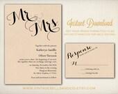 DIY Printable Wedding Invitation Template, Easy DIY Printable, Microsoft Word Invitation, Instant Download, Mr. and Mrs. Script (ID11)