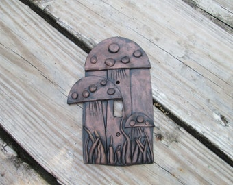 Toadstools, Light switchplate cover, light switch cover, handmade, one of a kind, hand painted, enchanted forest