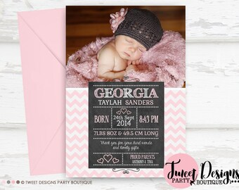 GIRL BIRTH ANNOUNCEMENT, Printable Baby Thank you Card, Chalkboard Thank You, Blackboard Baby, Chevron Blackboard Birth Announcement