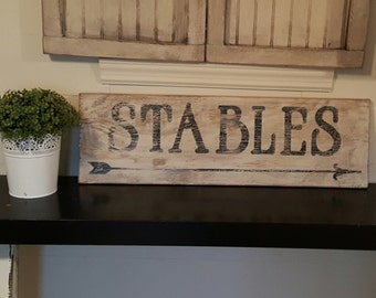 Distressed and vintage look stables sign/equestrian /horse/barn