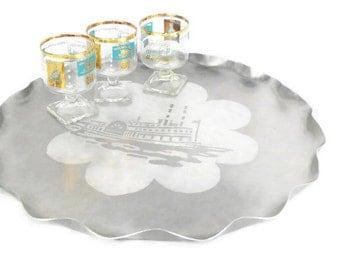 Vintage Libbey Southern Comfort Riverboat Cocktail Barware * Aqua 22K Gold Stemmed Rocks * Set of 3