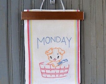 Vintage Embroidered Kitchen Tea Towel - Puppy Dog Day of the Week Feed Sack