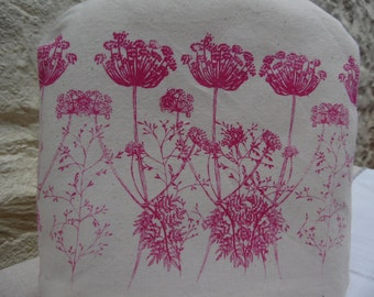 Pink Cow Parsley Cafetiere/French Press Cosy,Hand Printed Screen Print, Pink&White Check Gingham Cotton Fabric. Fits Small Cafetiere.