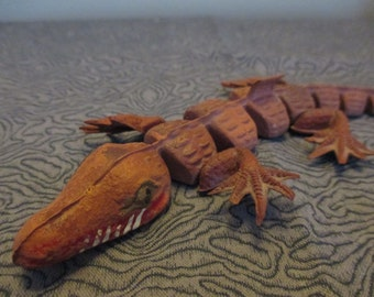 Vintage rare segmented rubber alligator toy made in Japan