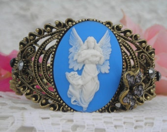 Gracious ANGEL 3D CAMEO on filigree brass BRACELET w. floral crystal design