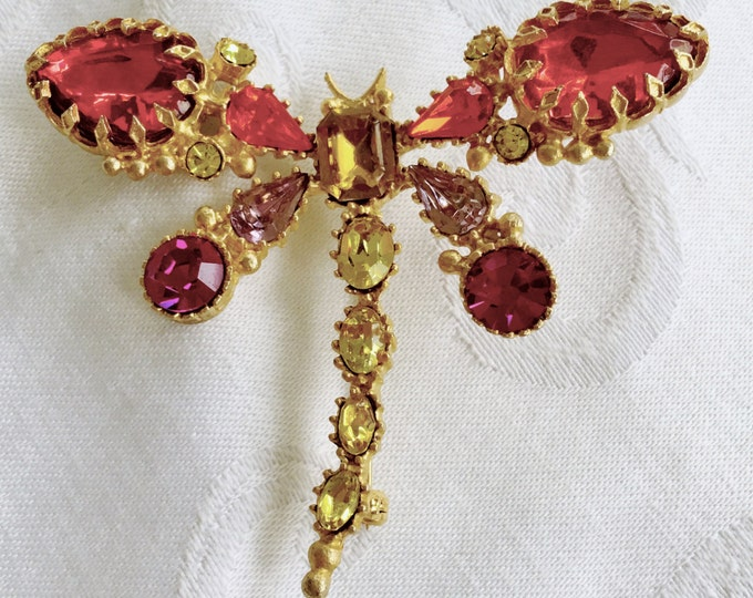 Vintage Dragonfly Brooch, Rhinestone Dragonfly Pin, Vintage Bug Jewelry, Firefly