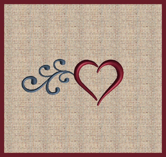 Valentine heart embroidery design satin stitch fill