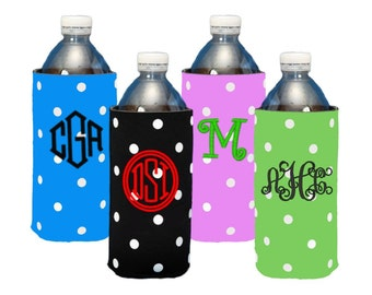 Personalized Polka Dot Water Bottle Cozies