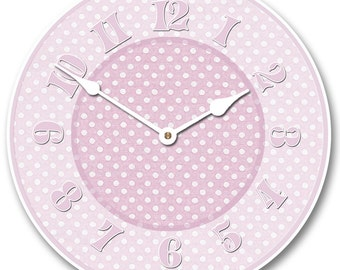 Baby Pink Dotted Swiss Wall Clock