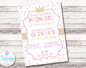 Pink and Gold Princess Birthday Invitation | Pink Gold Princess | Party Invitation | 1st 2nd Birthday | Girl's Birthday | Glitter | Digital