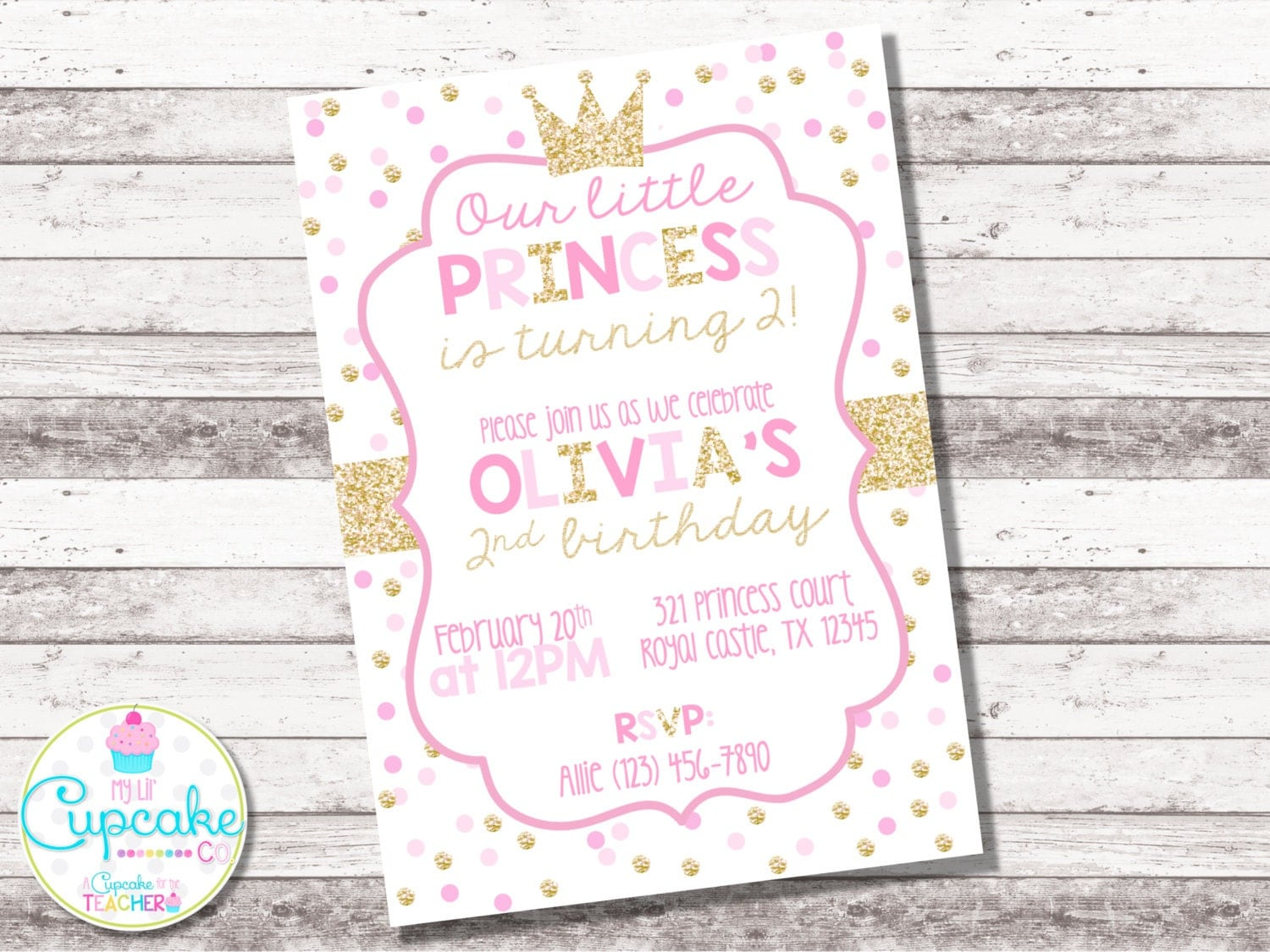 InvitationsByLittleP Pink And Gold 1st Birthday Invitations Princess Invitation