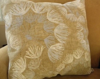 Floral,Blue,Tan,Ivory,Brown Linen Pillow Cover 20x20
