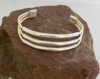 Silver and Brass Cuff Bracelet