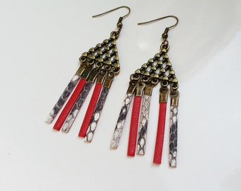 Leather red triangle pierced earrings