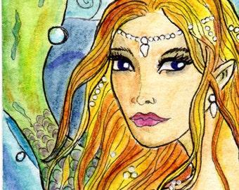 ACEO - Art Card Original - painted - Anahita the mermaid