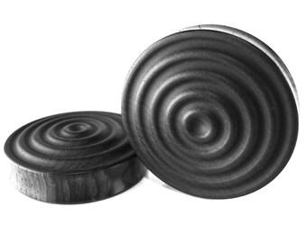 Wave pattern Organic Handmade Wooden  Ear Plugs 10mm-40mm