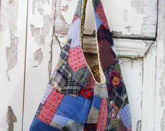 Hobo Bag Upcycled Clothing Repurpose Reuse Junk Gypsy Boho Chic Tote Bag