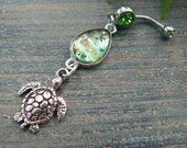 sea turtle belly ring abalone belly ring sea turtle shells in beach boho gypsy hippie belly dancer  beach hipster and fantasy style