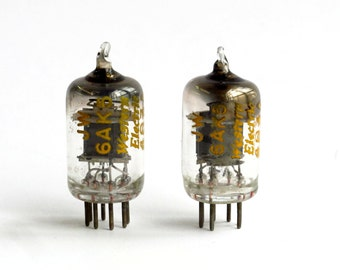 Pair Western Electric 6AK5 / 403A vacuum tubes - lightning bolt logo