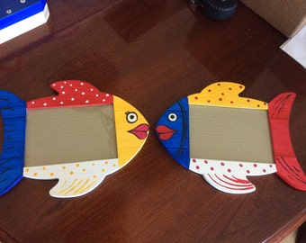 Set of Two Wooden Picture Frames - Fish Shaped and Painted