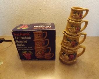 Fruit Fantasia 4 Pc Stackable Measuring Cup Set