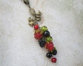 Pendant berries, Jewelry berries, Necklace berries, Handful berries, Currant, BlackBerry, Raspberries